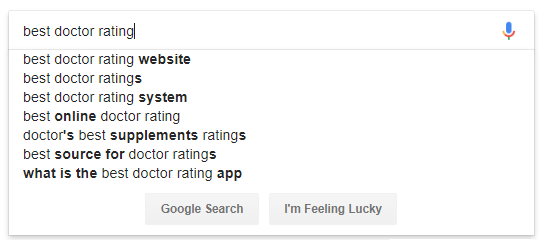 doctor ratings search bar