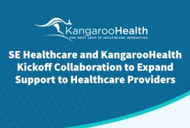 Press release graphic for SE Healthcare and Kangaroo Health. White text and logos on blue abstract background