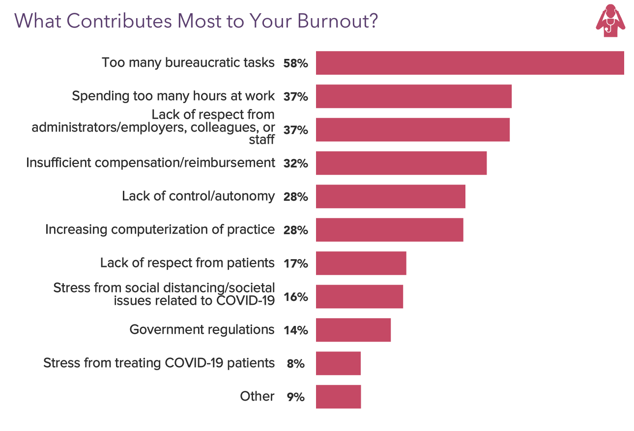 Graph Showing the Biggest Contributors to Physician Burnout